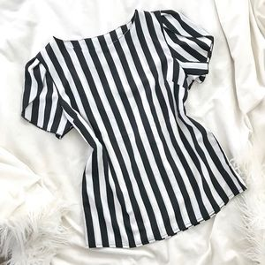 Black + White Striped Blouse